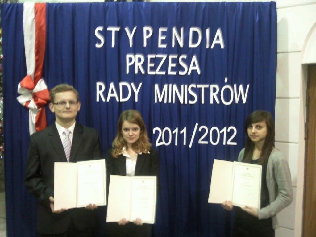 Prymusi ZS3  - stypendyści Prezesa Rady Ministrów , 2011 r.